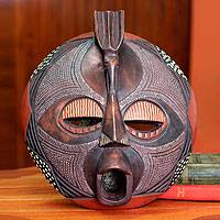 Ghanaian wood mask, 'Ewe Thanksgiving'