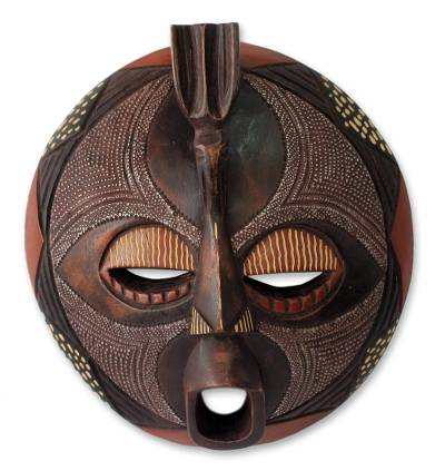 Ghanaian wood mask, 'Ewe Thanksgiving' - African Authentic Tribal Carved Wood Mask