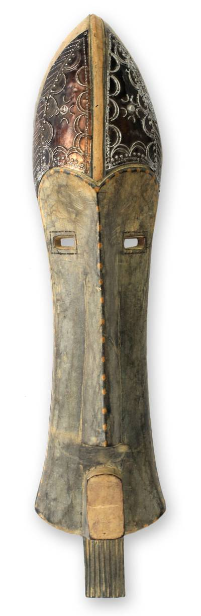 Ghanaian wood mask, 'African Charm' - African wood mask