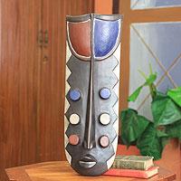 African wood mask, 'Six Eyes Grebo War Mask I' - Authentic African Wood War Mask