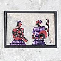 Cotton batik wall art, 'Horn and String Players II' - African Batik Collage Painting