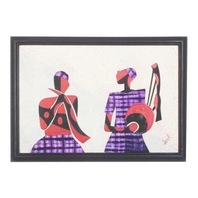 African Batik Collage Painting