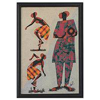 Fabric collage wall art, 'Apatampa Dancers II' - African Batik Framed Art