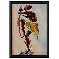 Cotton batik wall art, 'Damba Dance II' - Signed African Batik Collage Painting