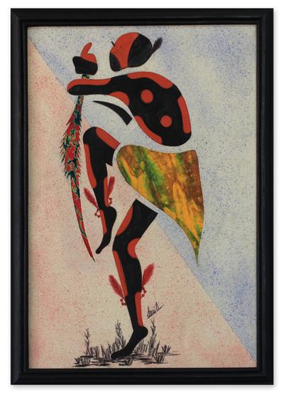 Cotton batik wall art, 'Damba Dance II' - Signed African Batik Collage Painting