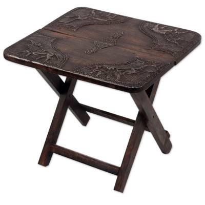 African Hand Crafted Wood and Brass Folding Table 16 in Tall