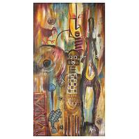 'Ancestral Chorus' - African Symbols Original Acrylic on Canvas Painting