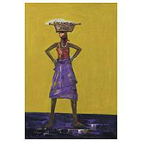 'Trade Akimbo' - Woman Vendor Fine Art Painting from Ghana