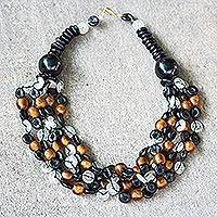 Recycled glass and ceramic torsade necklace, 'Deka' - Beaded Torsade Necklace Handcrafted with Recycled Glass
