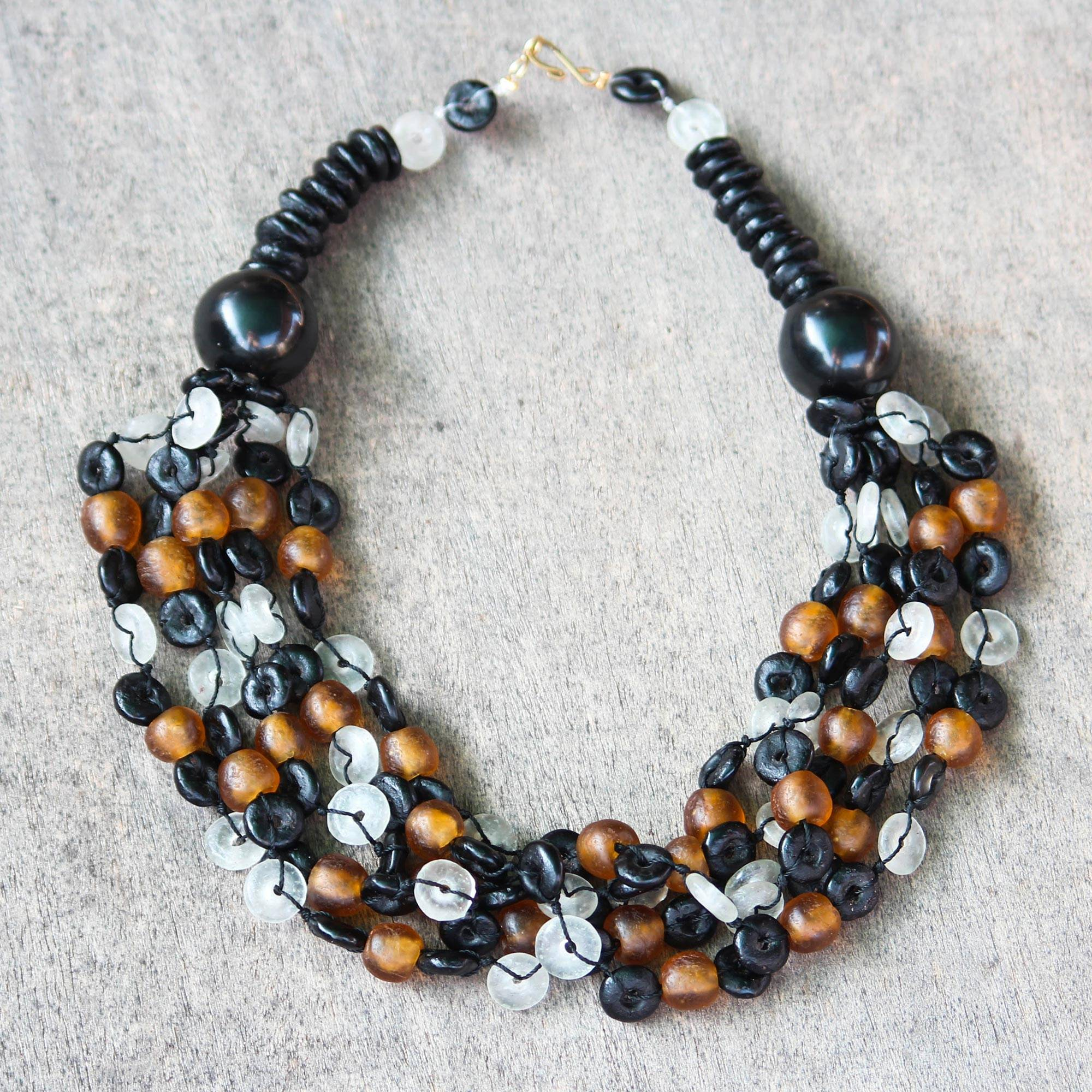 Deka Beaded Torsade Necklace Handcrafted with Recycled Glass The Perfect Necklace