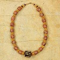 Wood beaded necklace, 'Desert Bird'