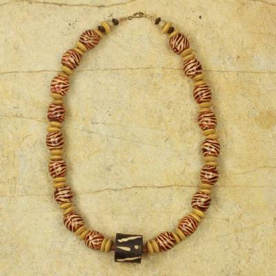 Wood beaded necklace, 'Desert Bird' - Artisan Crafted Necklace Ghana Beaded Jewelry