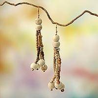 Ceramic beaded earrings, 'Anyigba' - Ceramic Beaded Necklace Africa Fair Trade Jewelry