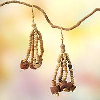 Ceramic and bauxite waterfall earrings, 'Empress' - Artisan Crafted Beaded Earrings from Africa