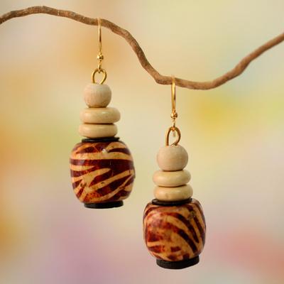 Wood beaded earrings, 'Desert Bird' - Wood Beaded Earrings on Brass Hooks from Ghana