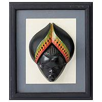 Wood wall decor, 'Oheneba Baa' - Fair Trade Hand Crafted Wall Decor Framed Mask