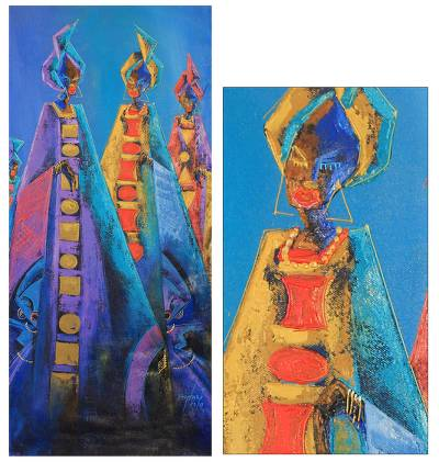 'Icons of Beauty II' - African Women Painting Signed Fine Art