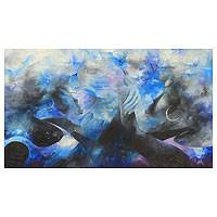 'One Soul' - African Abstract Women's Portrait in Blue and Black