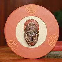 African mask plaque, 'Born on Friday' - Authentic African Mask Plaque Ghanaian Wall Art