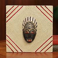 African mask plaque, 'Born on Thursday' - Authentic Ashanti African Mask on a Ceramic Plaque