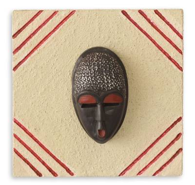 African mask plaque, 'Born on Wednesday' - Ashanti Authentic African Mask Placque
