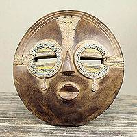 African wall mask, 'Tears of Joy' - Hand Crafted Authentic African Beaded Wood Mask from Ghana