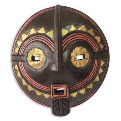 Wood African mask, 'My True Love' - Authentic African Mask Handcrafted in Ghana
