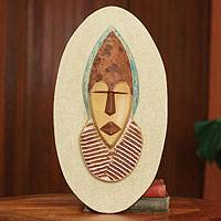 African mask plaque, 'Son of the Chief' - Hand Crafted African Mask Wall Plaque from Ghana