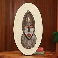 African mask plaque, 'Wife of the Chief' - Handcrafted Authentic African Mask Wall Plaque from Ghana