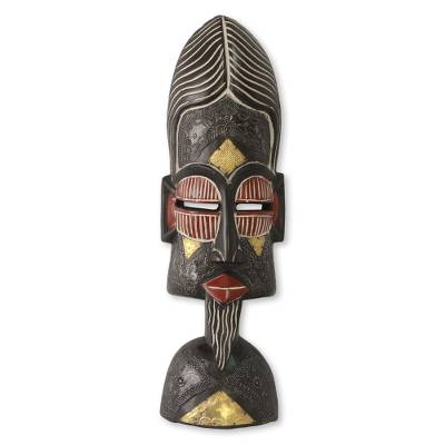 African mask, 'Understanding Lovers' - Artisan Crafted African Mask with Brass Accents
