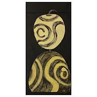 'Old Faithful Bodom Beads' - Yellow and Black Painting in Mixed Media of African Beads