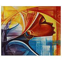 'Profile II' - African Woman Multicolor Painting