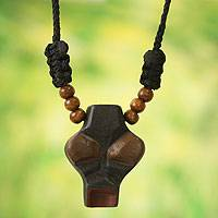 Men's wood pendant necklace, 'Wofa Adam' - African Mask Necklace for Men's Jewelry