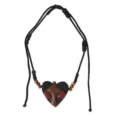 African Heart Mask Necklace for Men