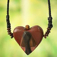 Wood pendant necklace, 'Kwele Love' - African Heart Mask Necklace for Women's Jewelry