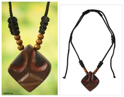 Men's wood pendant necklace, 'Okwonkwo' - Brave Igbo Warrior Mask Necklace for Men