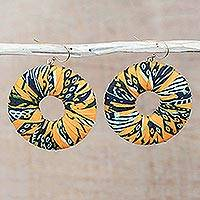 Cotton dangle earrings, 'Ewurama' - Handcrafted West African Dangling Cotton Earrings