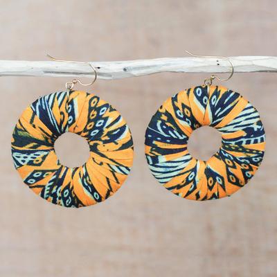 Cotton dangle earrings, 'Ewurama' - Handmade Cotton Dangle Earrings