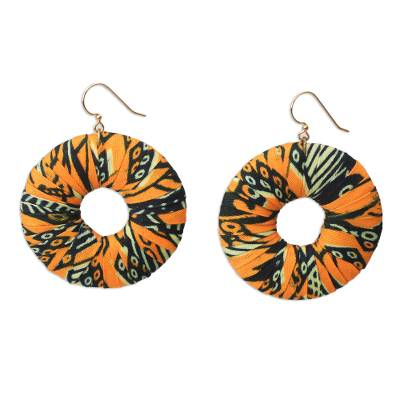Handcrafted West African Dangling Cotton Earrings, 'Yellow Yemaya'