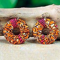 Cotton dangle earrings, 'Ewurafua' - Artisan Crafted Cotton on Wood Earrings African Jewelry