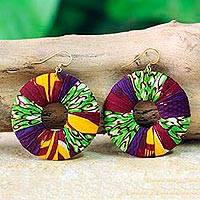 Cotton dangle earrings, 'Ewuraesi' - Handmade Cotton Dangle Earrings