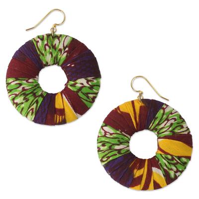 Cotton dangle earrings, 'Ewuraesi' - Handmade Cotton Dangle Earrings