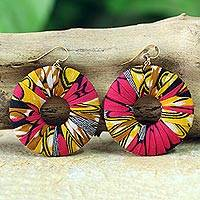 Cotton dangle earrings, 'Ewurayaa' - Handmade Cotton Dangle Earrings