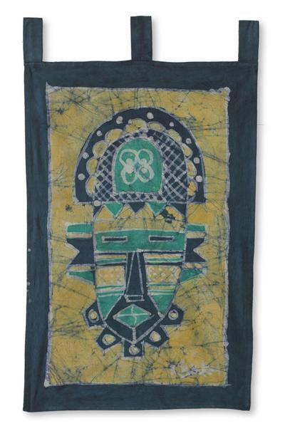 African Mask Cotton Batik Wall Hanging