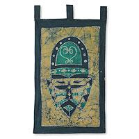 Batik wall hanging, 'Sankofa African Mask' - Sankofa African Mask Wall Hanging