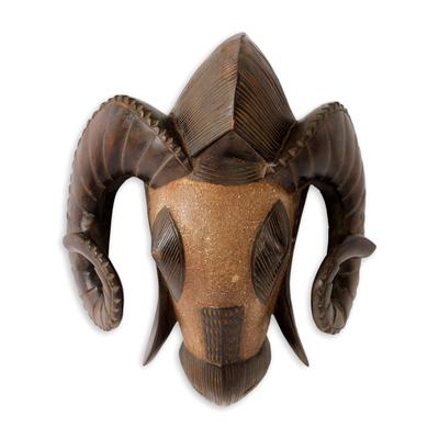 African mask, 'Baule Ram' - Hand Carved Ram Mask