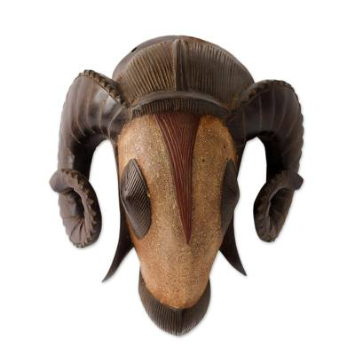 African mask, 'Powerful Ram' - Hand Carved African Ram Mask