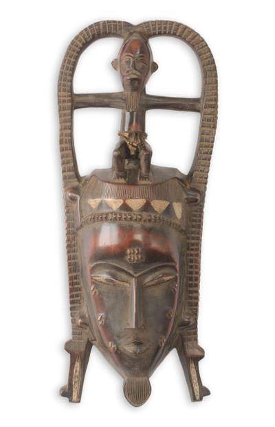 African mask, 'Baule Crocodile' - Fair Trade African Mask