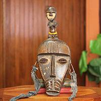 African mask, 'Kran Fertility Doll' - Hand Made Fertility Doll Mask