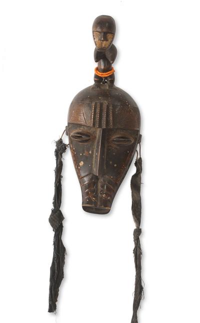 African mask, 'Kran Fertility Doll' - Hand Made Fertility Doll Mask